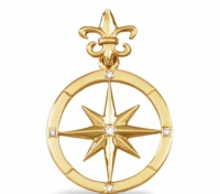 14K Gold Diamond Compass Rose Pendant - Large