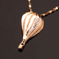 14K Gold Diamond Hot Air Balloon Pendant Jewelry