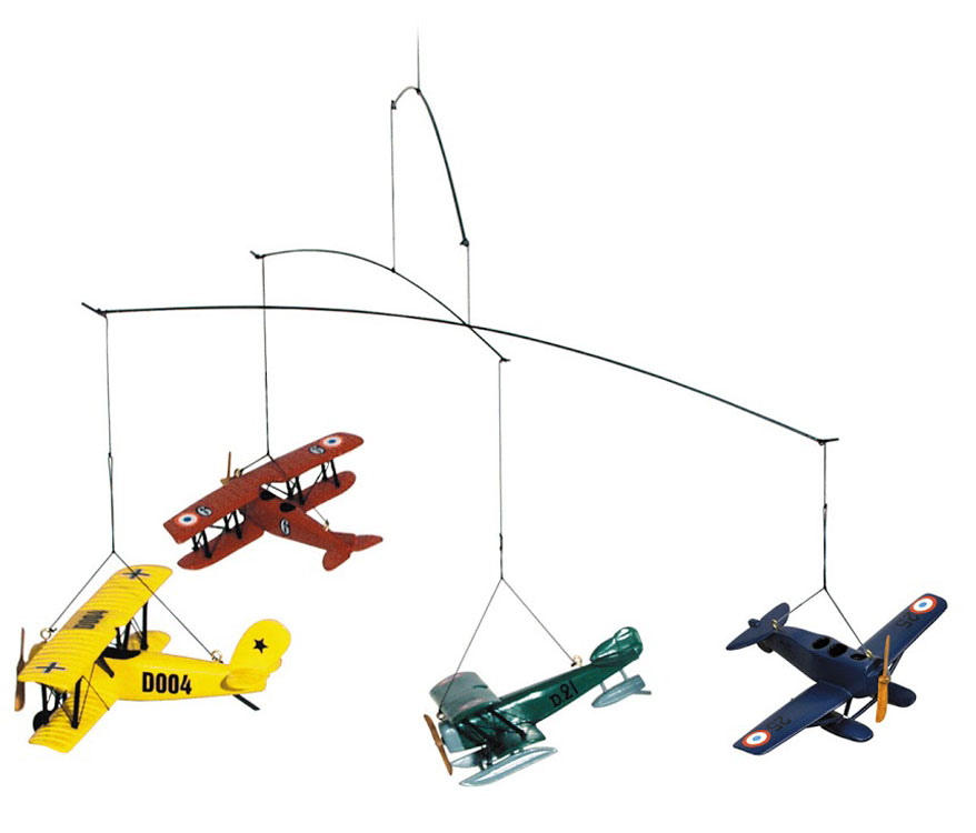airplane mobile with vintage airplanes airplane gifts baby nursery. Black Bedroom Furniture Sets. Home Design Ideas