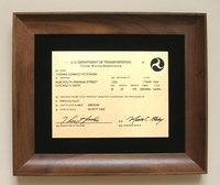 Custom Engraved Pilot's License Plaque