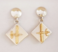 Gold & Silver Diamond Dangle Aviation Earrings - Low Wing
