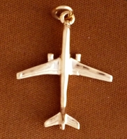 Gold B-757 Jet Airplane Pendant Jewelry