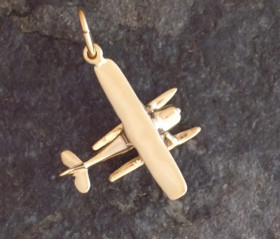 Gold Cessna Floatplane Airplane Pendant Jewelry
