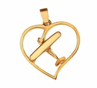 Gold Cessna Style Airplane Heart Pendant Jewelry