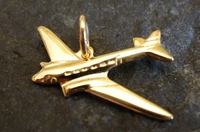 Gold DC-3 Airplane Pendant Jewelry