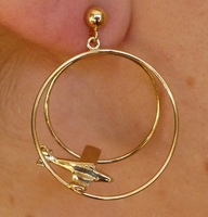 14K Gold Double Loop Airplane Earrings - Piper Style