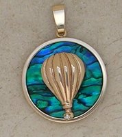 Gold Hot Air Balloon Pendant Sea Opal Jewelry