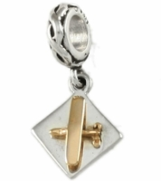 Gold & Silver Airplane Charm Bead - Cessna Style
