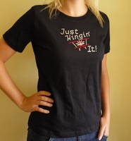 Just Wingin' It Women's Biplane T-Shirt with Bling