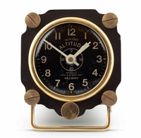 Metal Altimeter Desk Clock - Black/Brass