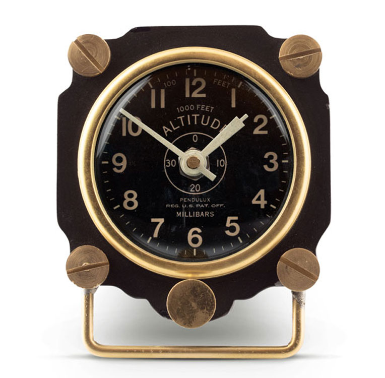 Metal Altimeter Desk Clock Black Brass