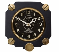 Metal Altimeter Wall Clock - Black