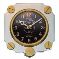 Metal Altimeter Wall Clock - Aluminum