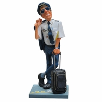 Humorous Pilot Sculpture by Guillermo Forchino