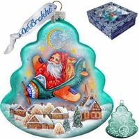 Santa Aviator Glass Ornament