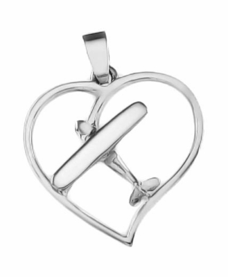 Silver Cessna Style Heart Pendant Airplane Jewelry