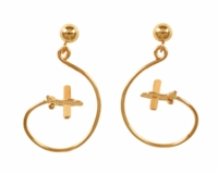 14K Gold Aerobatic Flight Earrings - Piper Style