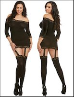 Queen Size Gartered Chemise Attached Stockings