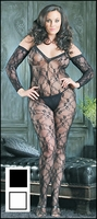 Plus Size Bodystocking Floral Half Sleeve