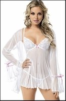 Baby Doll Robe Set White & Pink