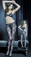 2-Piece Look Floral Pattern Bodystocking
