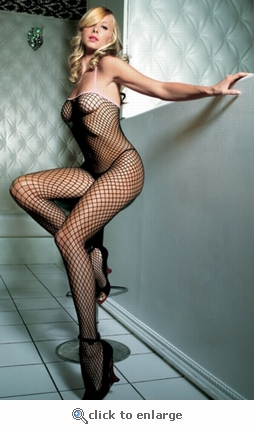Bodystocking Industrial Net with Pink Trim #89014