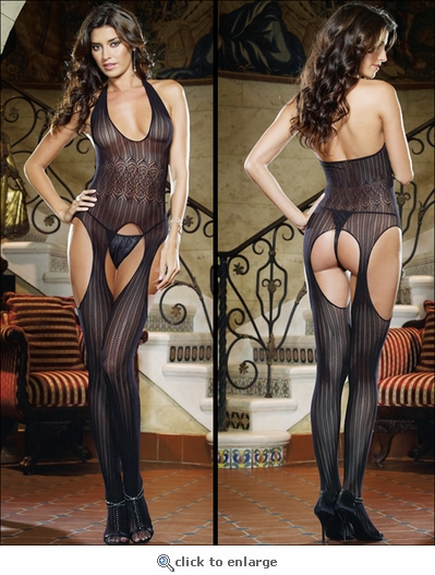 Bodystocking Suspender Style Patterned Crochet