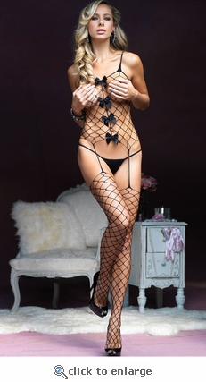 Bodystocking  Wide Net with Bows #89096