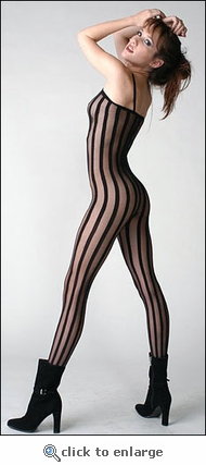 Bodystocking with Vertical Stripes