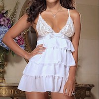 Bridal Bliss White Chiffon Baby Doll