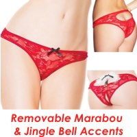 Christmas Crotchless Panties Lace & Jingle Bells
