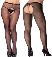 Plus Size Crotchless Fishnet Pantyhose