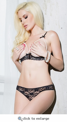 Crotchless Lingerie Set Pearl Framed Open Cups & Rear