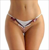 Crotchless Panty Burgundy Beads