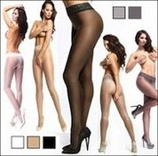 Crotchless Pantyhose with Shine & Lace Waistband
