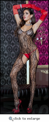 Crotchless Suspender Body Stocking Floral Lace