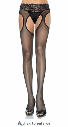 Crotchless Suspender Pantyhose with Lace Band