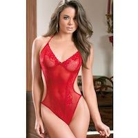 Crotchless Teddy Red Lace & Mesh