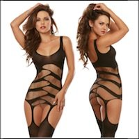 Flashy Slash Dress with Attached Stockings