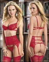 Red Lace Lingerie Ensemble