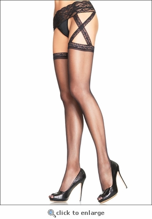 Garterbelt Pantyhose Criss Cross Side Garters