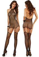 Gartered Chemise & Stockings Art Deco Lace Net