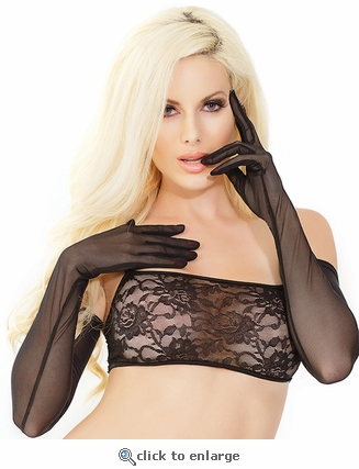 Gloves in Sheer Black Mesh