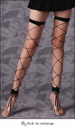 Jumbo Net Thigh Highs with Toe Ring