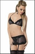 Lace Bra, Garterskirt, Panty & Stockings Set