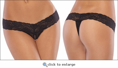Lace & Mesh Crotchless Thong XL