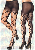 Floral Lace Pantyhose with Jumbo Net Front