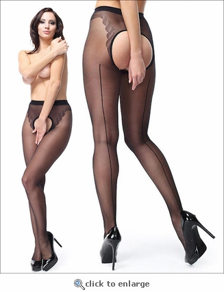 Luxury Crotchless Pantyhose with Back Seams