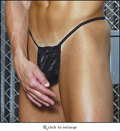 Men's Leather G-String Pouch with Open Hole