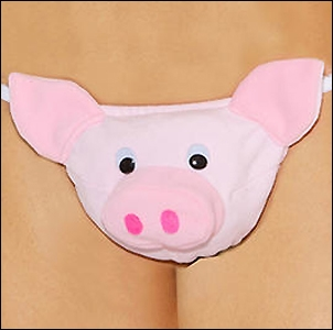 Men's Plush Pig Novelty G-String